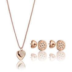 VictoriaWallsNY Elegantná bronzová sada šperkov s kryštálmi VS1117R (náušnice, náhrdelník)