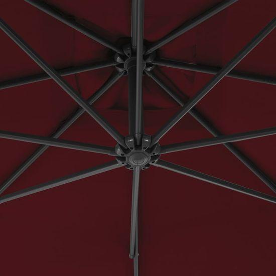 Petromila Závesný slnečník s oceľovou tyčou 250x250 cm, vínovo červený