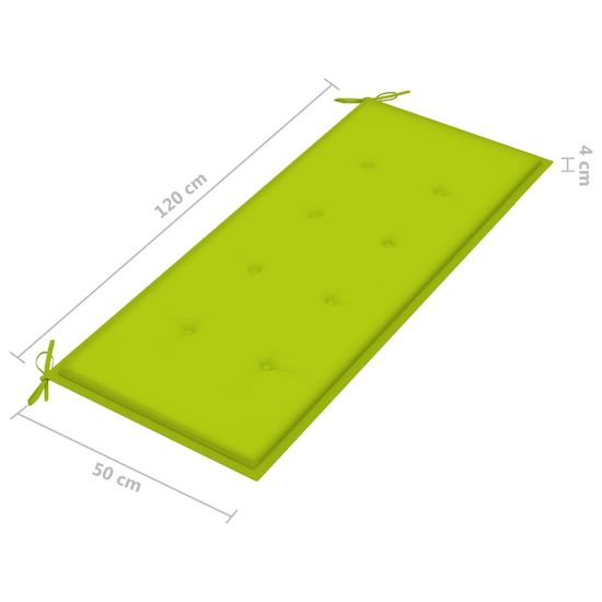 Greatstore Podložka na záhradnú lavičku bledozelená 120x50x4 cm látková