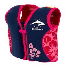KONFIDENCE Plavalni jopič za učenje plavanja , modra/roza, 2-3 leta