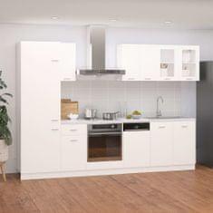 shumee 8-dielna sada kuchynských skriniek lesklá biela drevotrieska