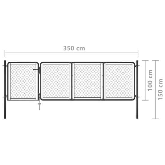 shumee Vrtna vrata jeklena 100x350 cm antracitna