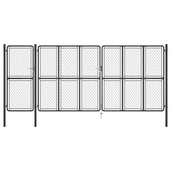 shumee antracitszürke acél kertkapu 150 x 495 cm