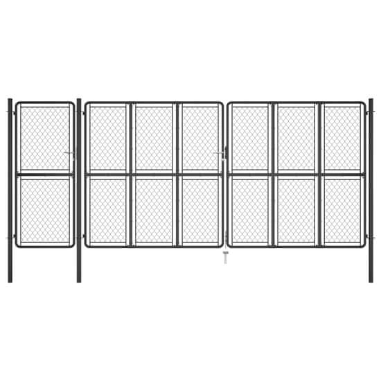 shumee antracitszürke acél kertkapu 200 x 495 cm