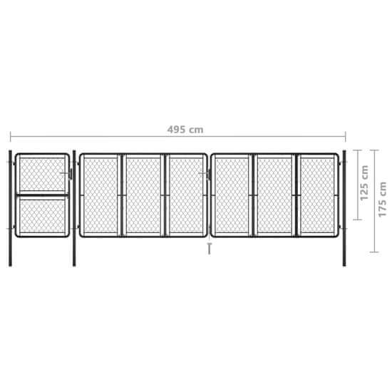 shumee antracitszürke acél kertkapu 125 x 495 cm