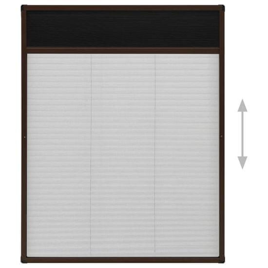 Greatstore Plisovaná okenná sieťka proti hmyzu, hliník, hnedá 60x80 cm