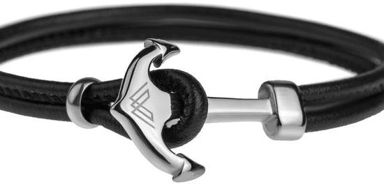 VictoriaWallsNY Elegáns bőr karkötő bronz horgonnyal VB1096S