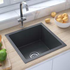shumee Ročno izdelano kuhinjsko pomivalno korito črno nerjaveče jeklo