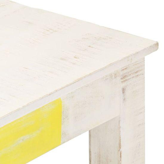 shumee Stolik kawowy, biały, 110 x 60 x 45 cm, lite drewno mango