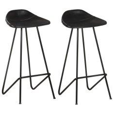 shumee Barové stoličky 2 ks čierne pravá koža