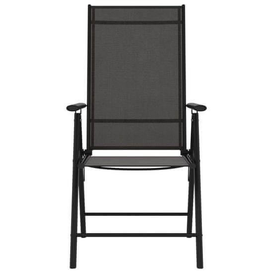 Greatstore Skladacie záhradné stoličky 6 ks textilénové čierne