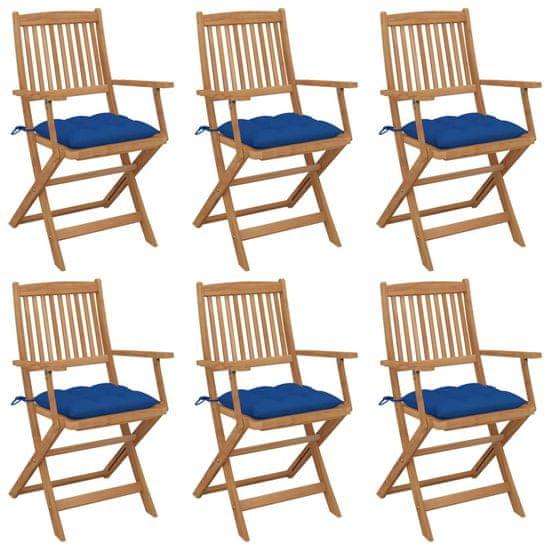 Greatstore Skladacie záhradné stoličky s podložkami 6 ks akáciový masív