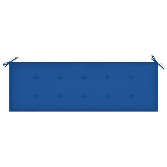 shumee Ławka ogrodowa z kobaltową poduszką, 150 cm, drewno tekowe