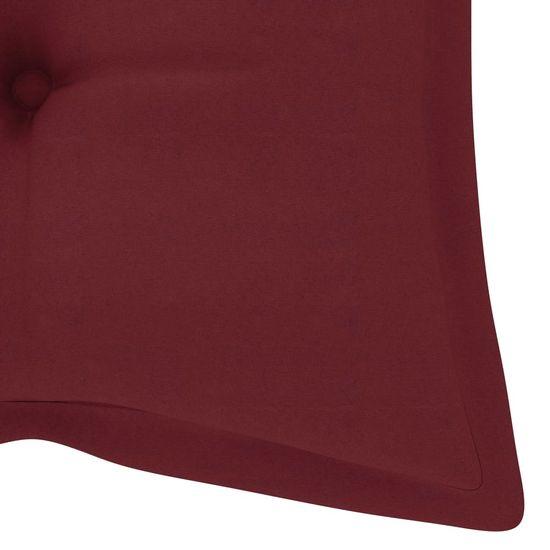 shumee Vrtna klop z vinsko rdečo blazino 240 cm trdna tikovina