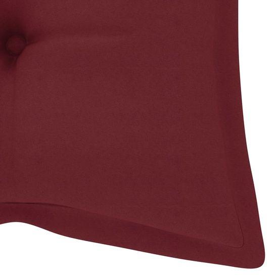 shumee Huśtawka ogrodowa z czerwoną poduszką, 120 cm, drewno tekowe