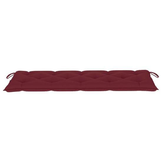 shumee Vrtna klop z vinsko rdečo blazino 150 cm trdna tikovina