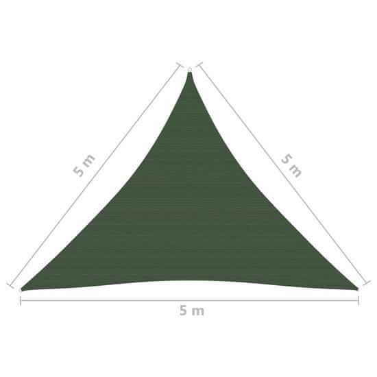 shumee Żagiel przeciwsłoneczny, 160 g/m², ciemnozielony, 5x5x5 m, HDPE