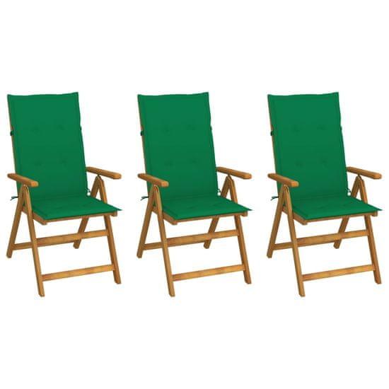 shumee 3 db összecsukható tömör akácfa kerti szék párnával