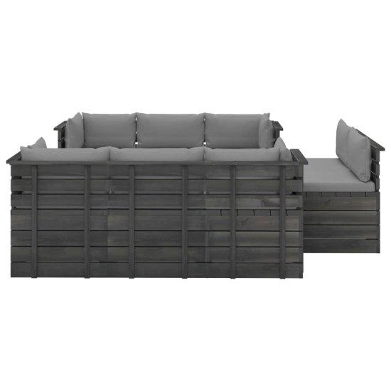 Petromila 9-dielna záhradná sedacia súprava z paliet s podložkami borovicový masív