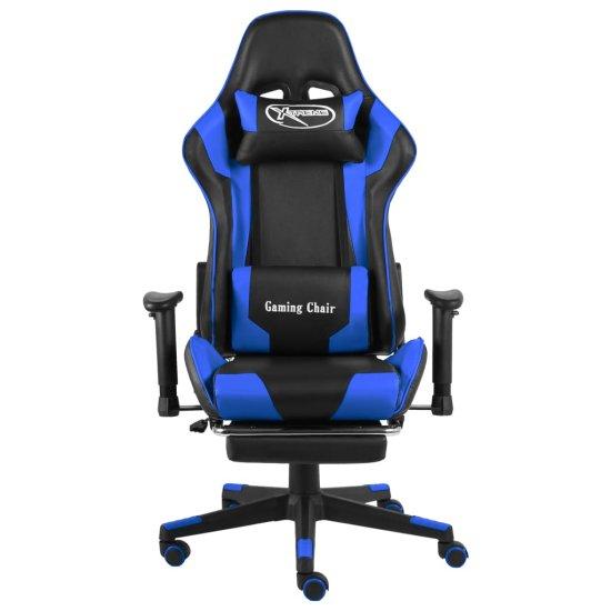 shumee kék PVC forgó gamer szék lábtartóval