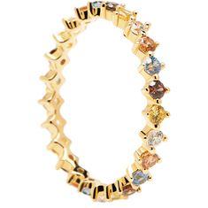 PDPAOLA Něžný pozlacený prsten se zirkony SAGE Gold AN01-209 (Obvod 50 mm) stříbro 925/1000