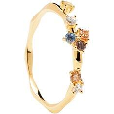 PDPAOLA Půvabný pozlacený prsten se zirkony FIVE Gold AN01-210 (Obvod 52 mm) stříbro 925/1000