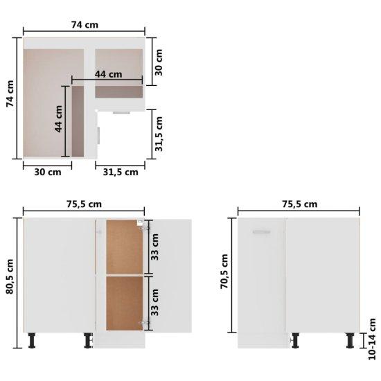Greatstore Kotna spodnja omarica bela 75,5x75,5x80,5 cm
