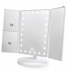 iQtech iMirror 3D Magnify, kosmetické Make-Up zrcátko třípanelové LED bílá