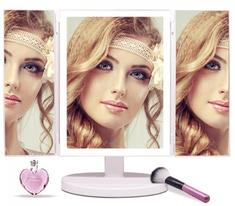 iQ-Tech iMirror 3D Fascinate, kosmetické Make-Up zrcátko třípanelové LED Line bílá