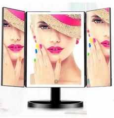 iQ-Tech iMirror 3D Fascinate, kosmetické Make-Up zrcátko třípanelové LED Line černé