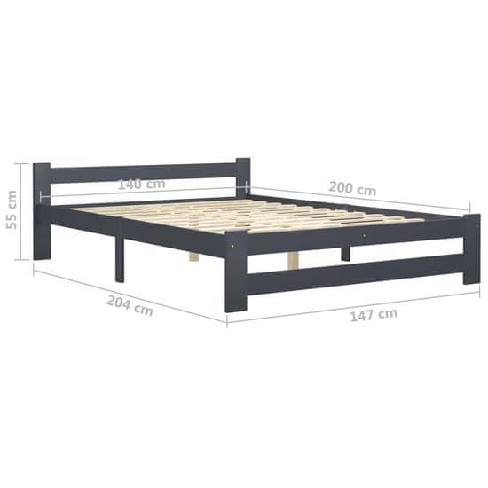 shumee Rama łóżka, ciemnoszara, lite drewno sosnowe, 140 x 200 cm