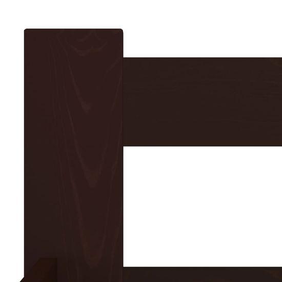 Greatstore Posteljni okvir temno rjav iz trdne borovine 160x200 cm