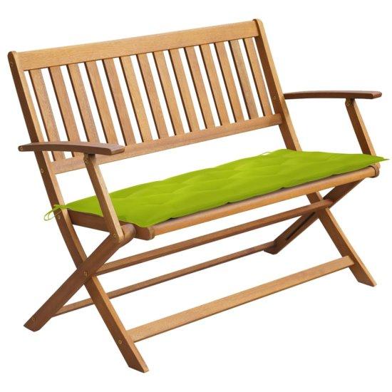 shumee Ławka ogrodowa z poduszką, 120 cm, lite drewno akacjowe