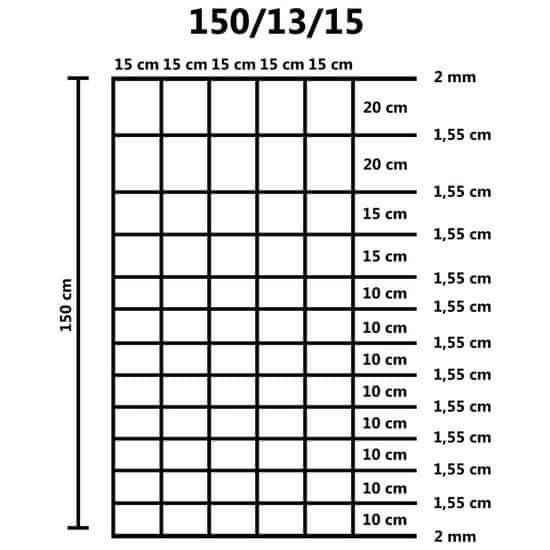 shumee Záhradný plot pozinkovaná oceľ 50 m 150 cm strieborný