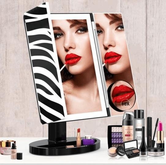 iQ-Tech iMirror 3D Fascinate Zebr, kosmetické Make-Up zrcátko třípanelové LED Line
