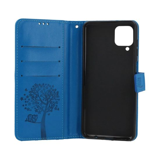 TopQ Púzdro Samsung A12 Flipové Modrý strom sovičky 57115