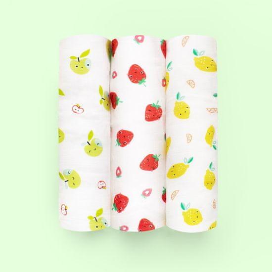 Bambinomio Mušelínové plienky bamboo 3 ks Cute Fruit