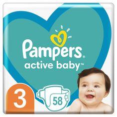 Pampers Active Baby Plenky Velikost 3, 58 Plenek, 6–10 kg