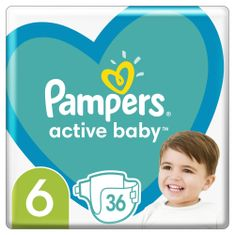 Pampers Active Baby plenice, velikost 6, 13–18kg, 36 kosov