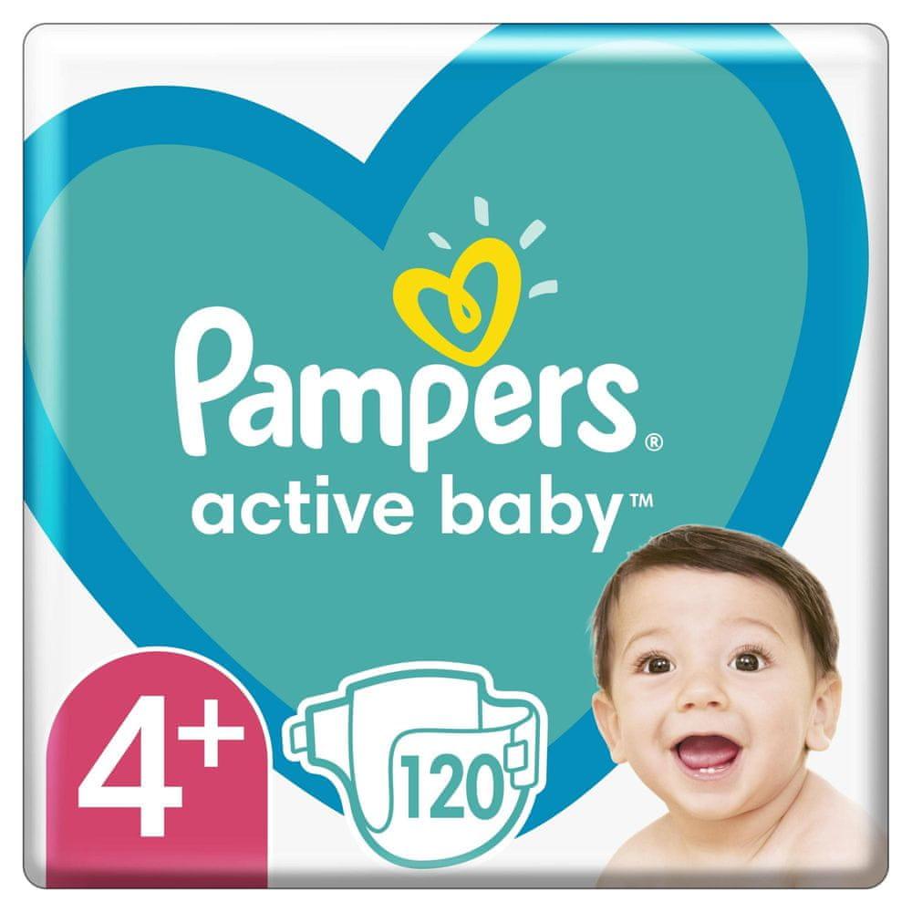 Pampers Active Baby Mega Pack Velikost 4+, 120 ks 10–15 kg