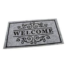 FLOMA Šedá textilní čistící vnitřní vstupní rohož Welcome - Deco - délka 33 cm, šířka 58 cm a výška 0,3 cm