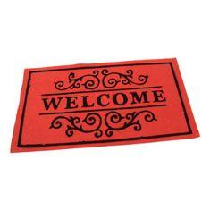 FLOMA Červená textilní čistící vnitřní vstupní rohož Welcome - Deco - délka 33 cm, šířka 58 cm a výška 0,3 cm