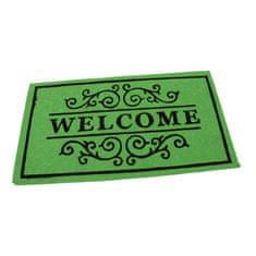 FLOMA Zelená textilní čistící vnitřní vstupní rohož Welcome - Deco - délka 33 cm, šířka 58 cm a výška 0,3 cm
