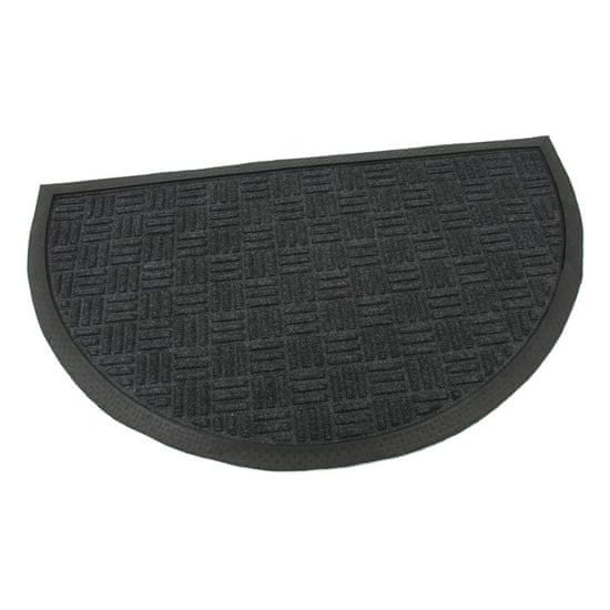 FLOMA Černá textilní gumová čistící půlkruhová vstupní rohož Criss Cross - délka 45 cm, šířka 75 cm a výška 0,8 cm
