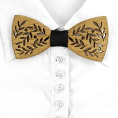 AMADEA Dřevěný motýlek k obleku - motiv větvičky 11 cm, český výrobek