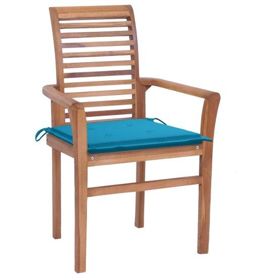shumee Jedálenské stoličky 4 ks modré podložky tíkový masív
