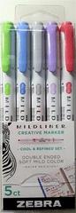 """ZEBRA Pen 78205 Sada zvýrazňovačů """"Mildliner Cool and Refined"""", 5 barev, 1,0 / 3,5 mm, oboustranný"""