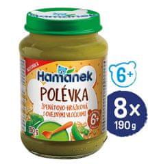 Hamánek Polievka špenátovo-hrášková s ovsenými vločkami 8x 190g