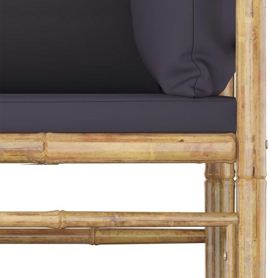 shumee 11 részes bambusz kerti bútorszett sötétszürke párnákkal