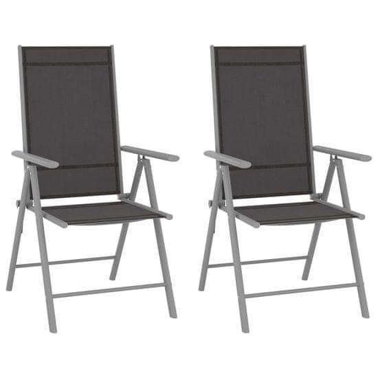 shumee 2 db fekete összecsukható textilén kerti szék